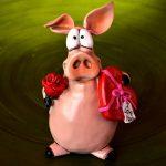 maialino rose cuore